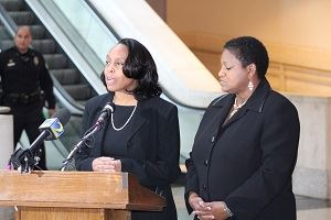 "Chief Magistrate Judge Cassandra Kirk joined Clerk of Superior Court Cathelene ""Tina"" Robinson"